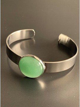 Bracelet - Open wide cuff with round stone charm.