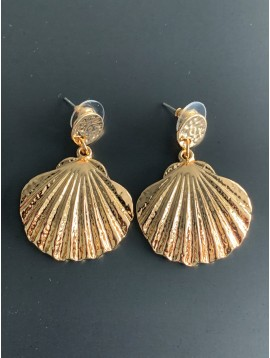 Earrings - Small size metallic shell charm.