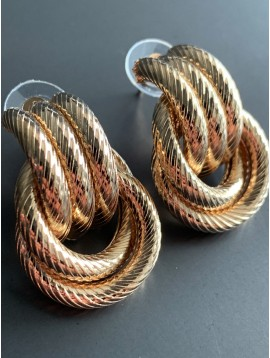 Earrings - Interlaced metallic stripped rings charms.