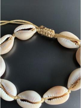 Bracelet - Coquillages véritables et métal sur lien serrage