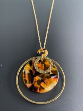 Long Stainless Steel Necklace - Mottled resin charm with rings.