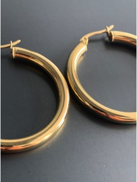 Stainless Steel Earrings - Rounded plain color hoops.