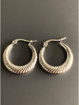 Stainless Steel Earrings - Rounded striped hoops.