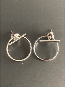 Stainless Steel Earrings - Ring and bar charm.