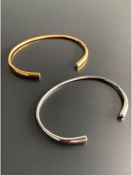 Bracelet Acier - Jonc avec 4 strass libres dans fente