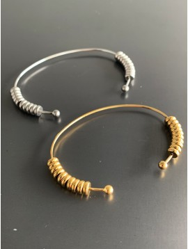 Stainless Steel Bracelet - Open cuff with ring washer charms.