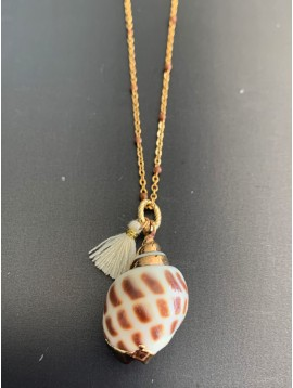 Long Stainless Steel Necklace - Smooth painted shell charm with pom pom and coloured beads.
