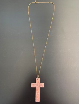 Long Stainless Steel Necklace - Mottled resin cross charm (large size) with coloured beads.