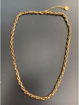 Collier Acier - Pastille avec petit strass serti sur fil nylon