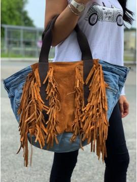 Sac synthé/cuir shopping jean et frange