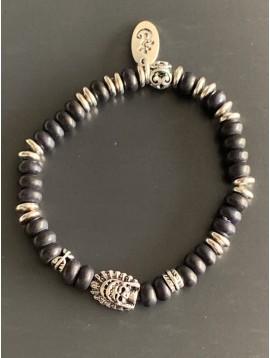 Bracelet éla -Tête maya avec anneaux métal et perles pierres