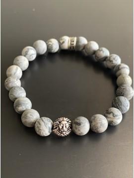 Bracelet éla -Tête de lion avec perles pierres