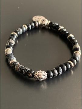 Bracelet éla -Tête de lion avec anneaux métal et perles pierres