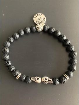 Bracelet éla -Tête de mort avec anneaux métal et perles pierres