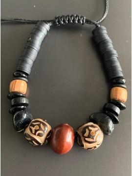 Bracelet - Lien serrage cordon avec grosses perles diverses