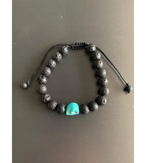 Bracelet -Tête de mort turquoise et Perles de lave sur cordon