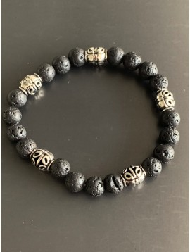 Bracelet éla - Perles pierres et perles métal motifs