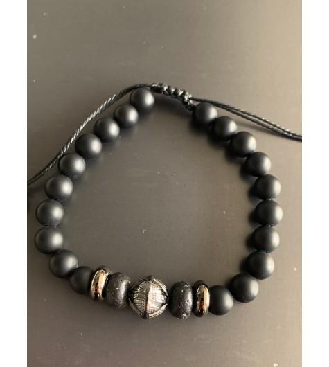 Bracelet - Lien serrage cordon avec perles pierres et rondelles métal