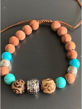 Bracelet - Lien serrage cordon avec perles bois et pierres