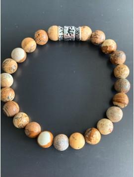 Bracelet éla - Perles pierres avec perle métal inscription
