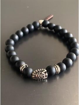 Bracelet éla - Tête maya avec perles pierres et petit pompon