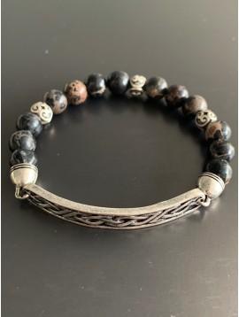 Bracelet éla - Barrette métal vieilli et perles pierres/métal