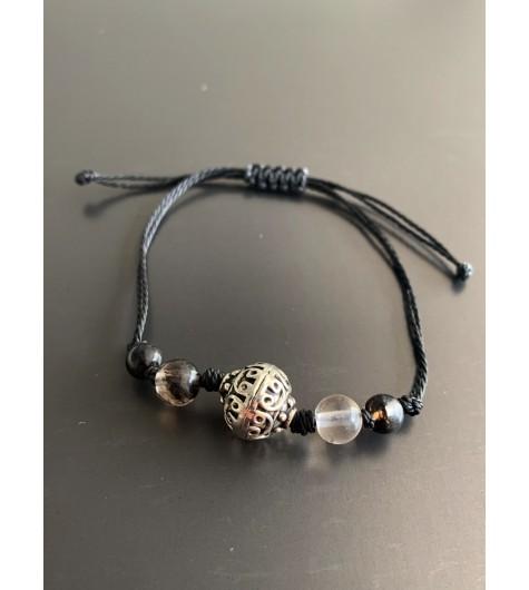 Bracelet - Lien serrage cordon avec perle métal travaillée