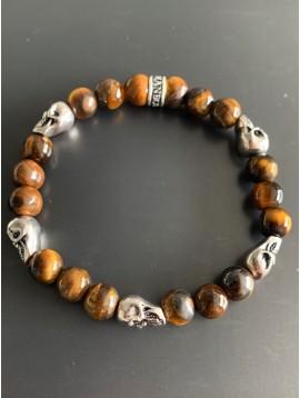 Bracelet éla -Tête de mort et perles rondes pierres