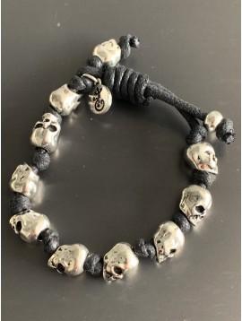Bracelet - Lien serrage cordon avec perles têtes de mort métal