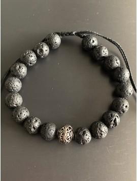 Bracelet - Lien serrage cordon avec perles pierres et 1 métal motif