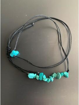 Bracelet - Cordon multirangs pierres turquoise pointiues