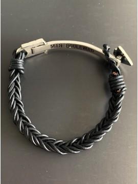 Bracelet - Flèche métal sur tresse en cuir