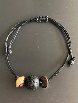 Bracelet - Lien serrage cordon avec grosse perle et perles bombées