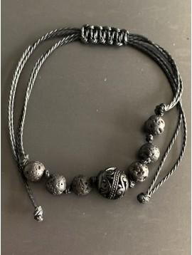 Bracelet - Lien serrage cordon avec perles rondes