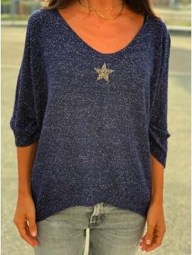 Pull tricot lurex avec étoile strass devant et manches 3/4