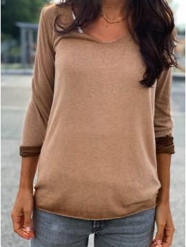 Tshirt manches longues uni avec surpiqûres lurex