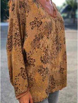 Tshirt manches longues impr léopard lurex et bord col et manche lurex