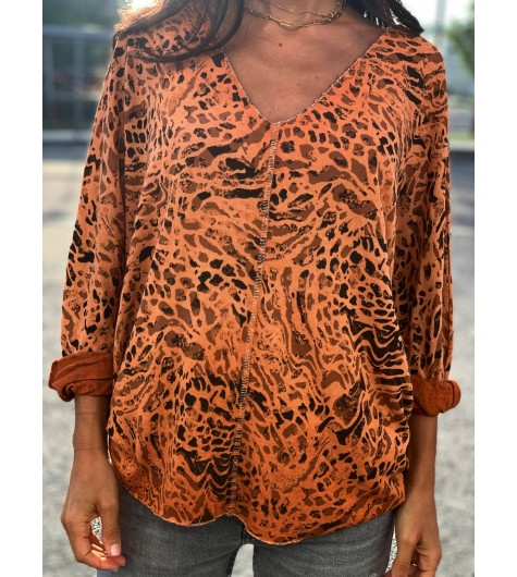 Tshirt manches longues oversize motif peau de bête