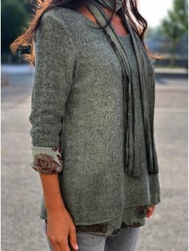Pull tricot manches longues doublure fleuri avec écharpe