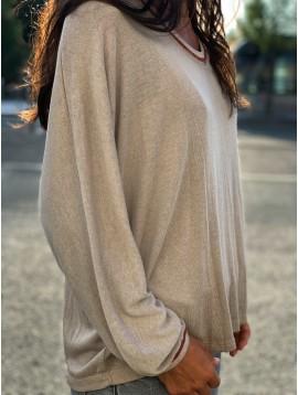 Tshirt manches longues bord col et manche lurex