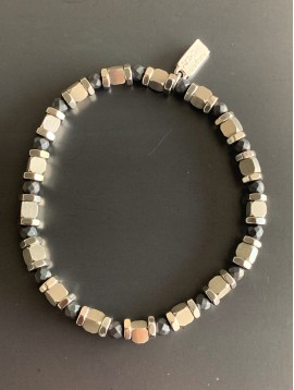 Bracelet Acier Ela - Perles rondelles/carrés/facettes