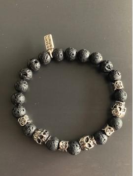 Bracelet Acier éla - Perles de lave/tête de mort/croix