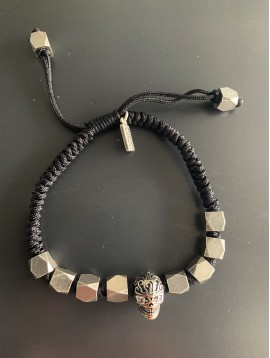 Bracelet Acier - Perles carrés/tête de mort sur cordon et lien serrage