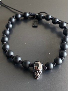 Bracelet Acier - Perles rondes/tête de mort sur cordon et lien serrage