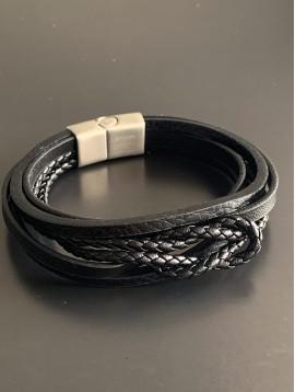 Bracelet Acier - Multirangs cuir tressés et lisses