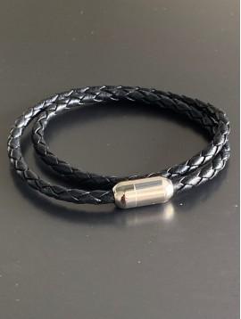 Bracelet Acier Aimant - Tresse cuir double rang