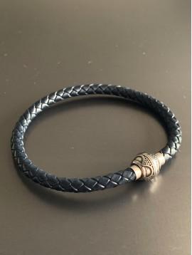 Bracelet Acier Aimant - Tresse cuir et boule aimant avec motif
