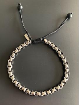 Bracelet Acier - Perles style jaseron sur cordon et lien serrage
