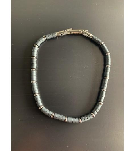 Bracelet Acier - Perles rondelles et fermoir deployant