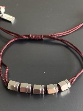 Bracelet Acier - 5 Perles cubes/rondelles sur cordon et lien serrage